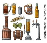 beer set with tap  glass  can ... | Shutterstock .eps vector #574890898