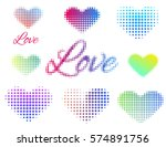 set of stickers love and heart. ... | Shutterstock .eps vector #574891756