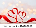 red heart with ribbon.... | Shutterstock . vector #574902892