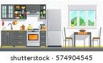 kitchen appliances with black... | Shutterstock .eps vector #574904545
