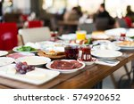 breakfast table with cheese ... | Shutterstock . vector #574920652