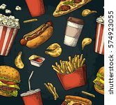 seamless pattern fast food. cup ... | Shutterstock .eps vector #574923055