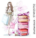 beautiful sketch set  fashion... | Shutterstock .eps vector #574925752