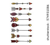colorful indian hipster arrow... | Shutterstock .eps vector #574931086