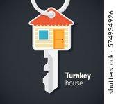 turnkey house illustration.... | Shutterstock .eps vector #574934926