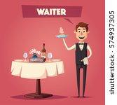 reserved table in restaurant.... | Shutterstock .eps vector #574937305