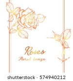 vector greeting card with roses ... | Shutterstock .eps vector #574940212