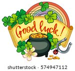 holiday label with shamrock ... | Shutterstock .eps vector #574947112