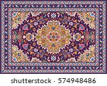 colorful mosaic oriental rug... | Shutterstock .eps vector #574948486