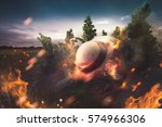 ufo crash in the forest | Shutterstock . vector #574966306