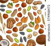 nut  seed and cereal seamless... | Shutterstock .eps vector #574968472