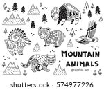 collection of mountain animals... | Shutterstock .eps vector #574977226