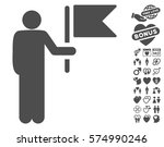 commander with flag pictograph... | Shutterstock .eps vector #574990246