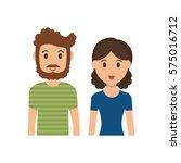 cute couple cartoon icon vector ... | Shutterstock .eps vector #575016712