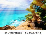 photo of a tropical beach on... | Shutterstock . vector #575027545