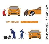 car repair and maintenance .... | Shutterstock .eps vector #575053525