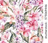 watercolor vintage floral... | Shutterstock . vector #575069446