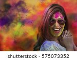 portrait of a smiling girl with ... | Shutterstock . vector #575073352