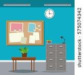 work time desk table cabinet... | Shutterstock .eps vector #575074342