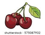 hand drawn red cherry