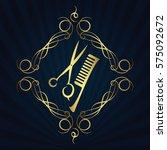 scissors and hairbrush symbol... | Shutterstock .eps vector #575092672