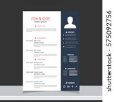 resume and cv vector template.... | Shutterstock .eps vector #575092756