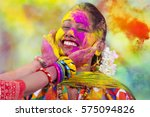 portrait of  young indian woman ... | Shutterstock . vector #575094826