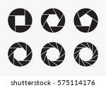 set of black camera lens... | Shutterstock .eps vector #575114176