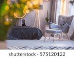 grey bedroom with black bed ... | Shutterstock . vector #575120122