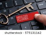 closed up finger on keyboard... | Shutterstock . vector #575131162