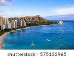 waikiki beach and diamond head... | Shutterstock . vector #575132965