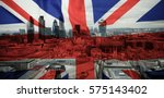 flags of uk and eu combined... | Shutterstock . vector #575143402