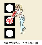 voting girl | Shutterstock .eps vector #575156848
