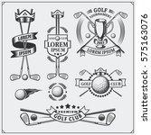 set of vintage golf labels ... | Shutterstock .eps vector #575163076