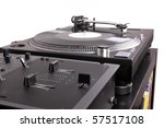 dj mixer and turntable on black ...   Shutterstock . vector #57517108