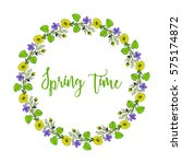 spring wreath with violet and... | Shutterstock .eps vector #575174872