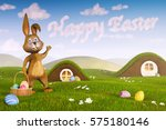 A Cute Easter Bunny Surrounded...