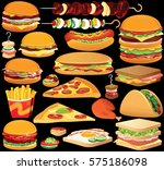 fast food clip art. set of... | Shutterstock .eps vector #575186098