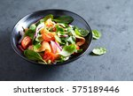 salmon salad with baby spinach... | Shutterstock . vector #575189446