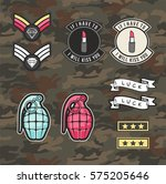set of women military and army... | Shutterstock .eps vector #575205646