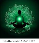 man meditate dark green... | Shutterstock .eps vector #575215192