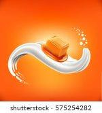 caramel candy lying on milk... | Shutterstock .eps vector #575254282