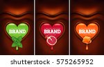 chocolate heart background with ... | Shutterstock .eps vector #575265952