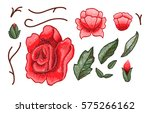 beautiful flowers embroidery....   Shutterstock .eps vector #575266162