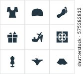 set of 9 simple clothes icons....
