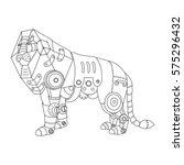steampunk style lion.... | Shutterstock .eps vector #575296432