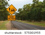 share the road with cyclists... | Shutterstock . vector #575301955