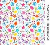 seamless pattern  sea symbols.... | Shutterstock .eps vector #575303932