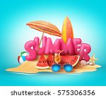 summer beach vector banner... | Shutterstock .eps vector #575306356
