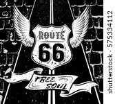 free soul route 66. vector... | Shutterstock .eps vector #575334112